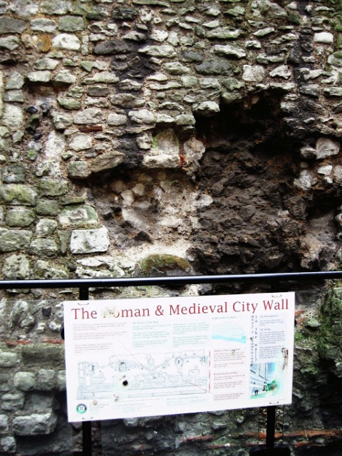 Part of the original wall surrounding the Roman city of Londinium or London