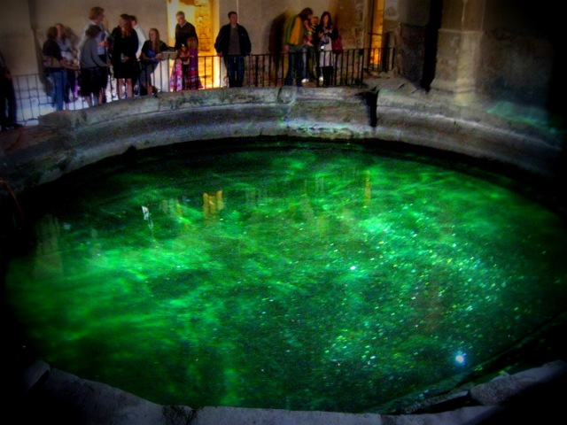The Circular Bath. One can still see the coins glinting in the waters