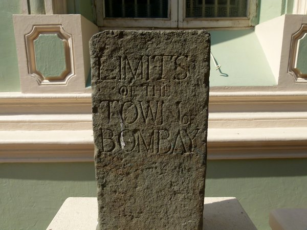 A stone that once marked the town limits of Bombay