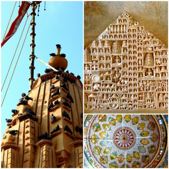 Clockwise from Left: The spire of Ladrava Temple; details of a carving from the Ranakpur Temple; and a painted ceiling from the Bhadnesar Temple