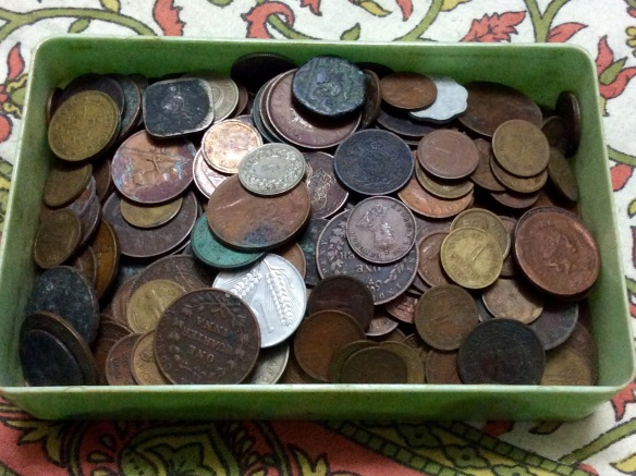 Box of coins, numistimatics, nostalgia