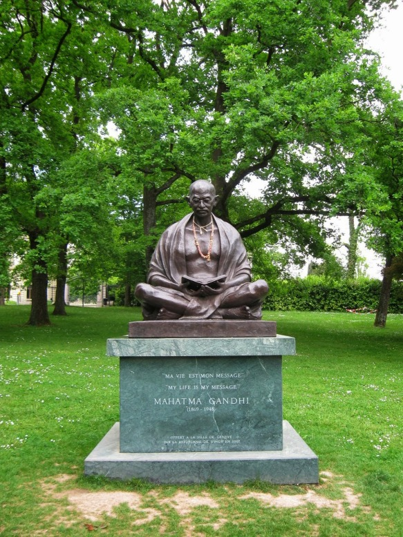 Nahatma Gandhi, Statue, Bronze, Geneva, Geneve, Switzerland,