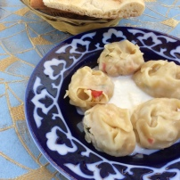Khiva: Mantees or vegetable filled steamed dumplings. Like momos, but better