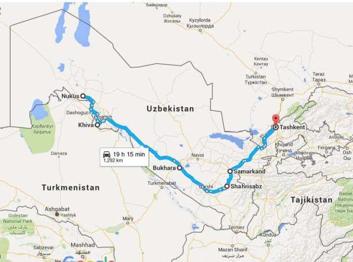 Nukus, Uzbekistan to Tashkent, Uzbekistan - Google Maps
