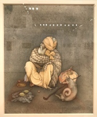 A wantering mendicant with his potli of possessions, a walking stick and a dog !